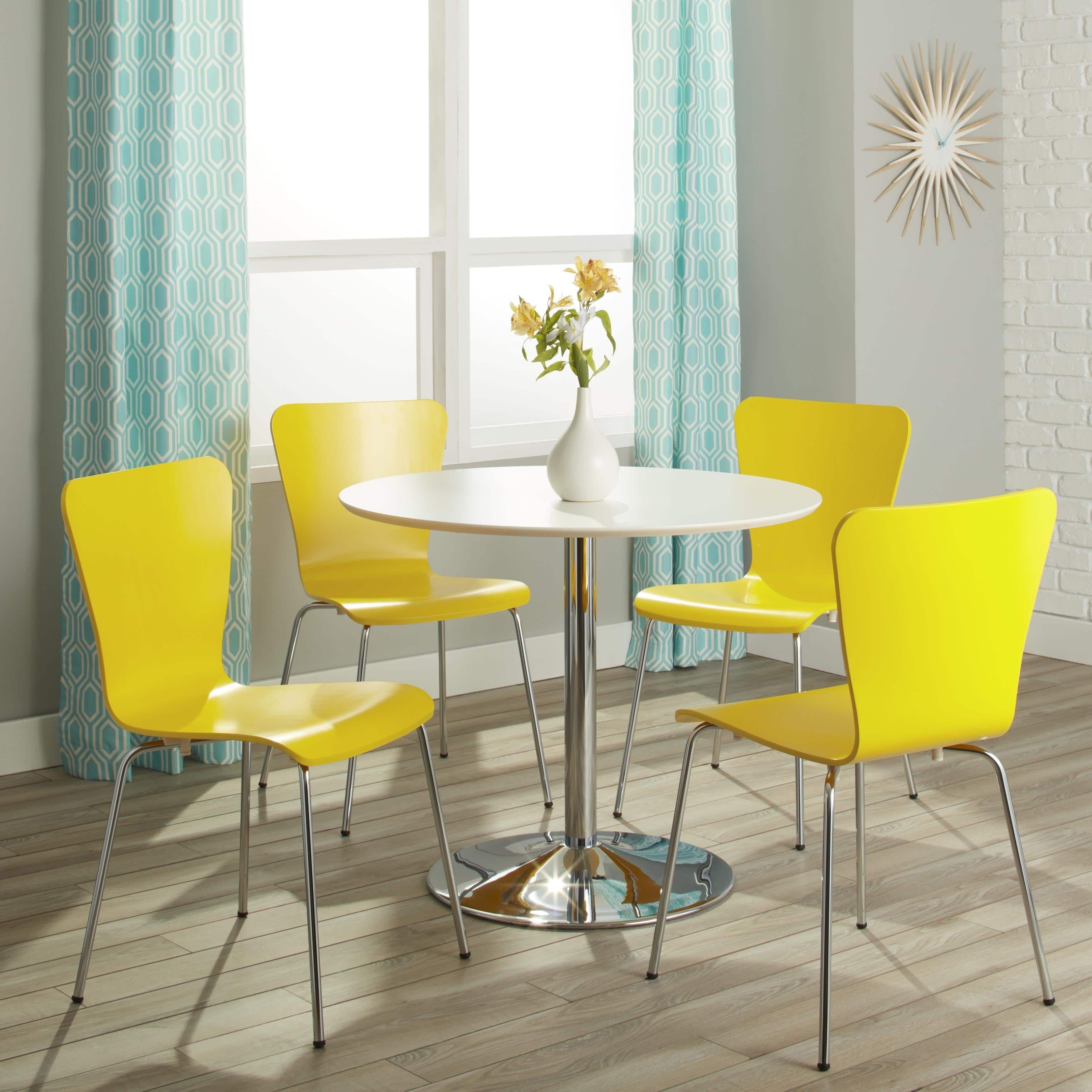 Simple Living Pisa Modern 5 Piece Dining Set (With 4 Yellow Chairs), White