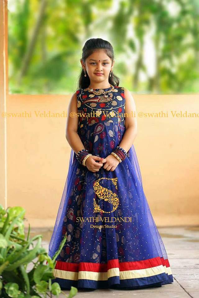 a9078ddafefc Cute little one in royal blue designer gown by Swathi Veldandi. 26 August  2017