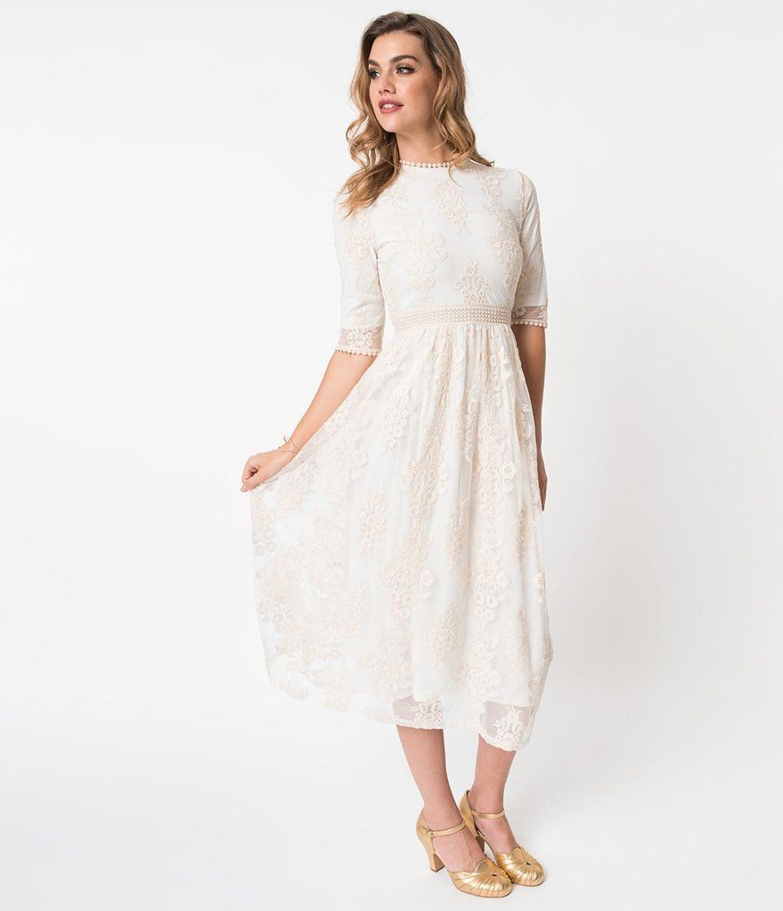 Vintage Style Cream Ivory Embroidered Lace Midi Dress Lace Midi Dress Vintage Fashion Wedding Dresses Unique [ 1023 x 879 Pixel ]