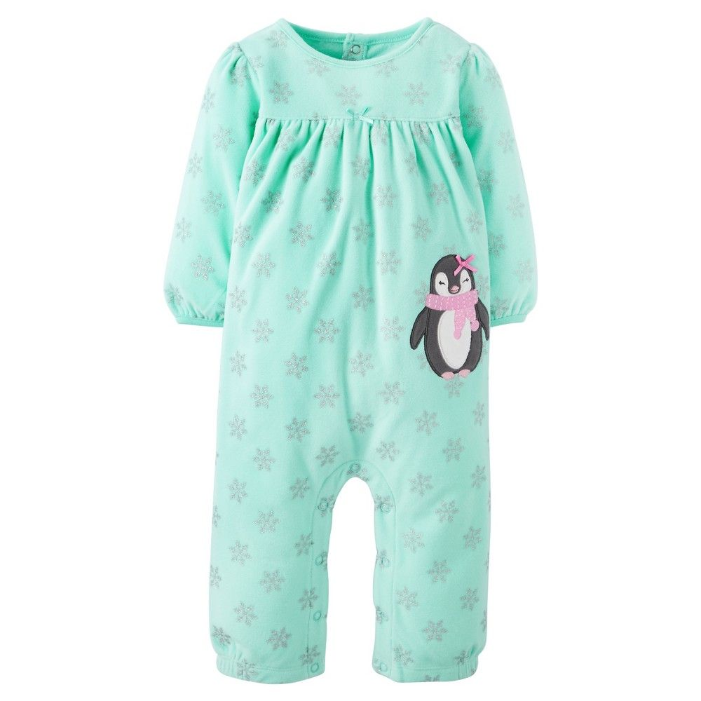 Baby Fleece Snowflake Penguin Jumpsuit 12M - Just One You Made by Carter's, Infant, Size: 12 M, Green