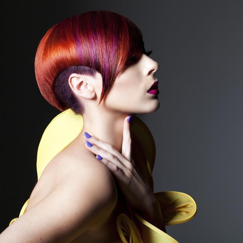 Hair Color Blocking Disconnected Cut Hair Makeup Pinterest