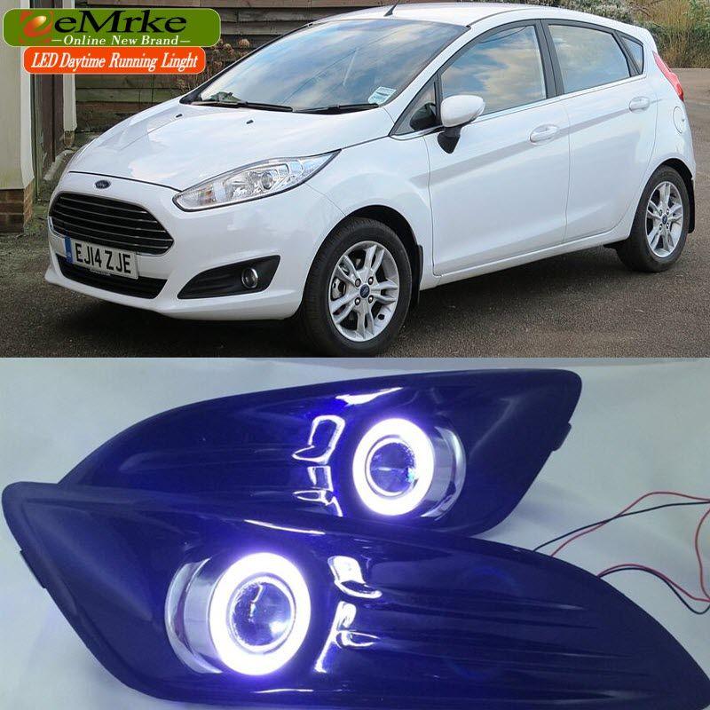 Car Styling Cob Drl For Ford Fiesta 2014 2015 2016 Led Angel Eyes Fog Lights H11 55w Halogen Bulbs Daytime Running Light Led Angel Eyes Ford Fiesta Angel Eyes