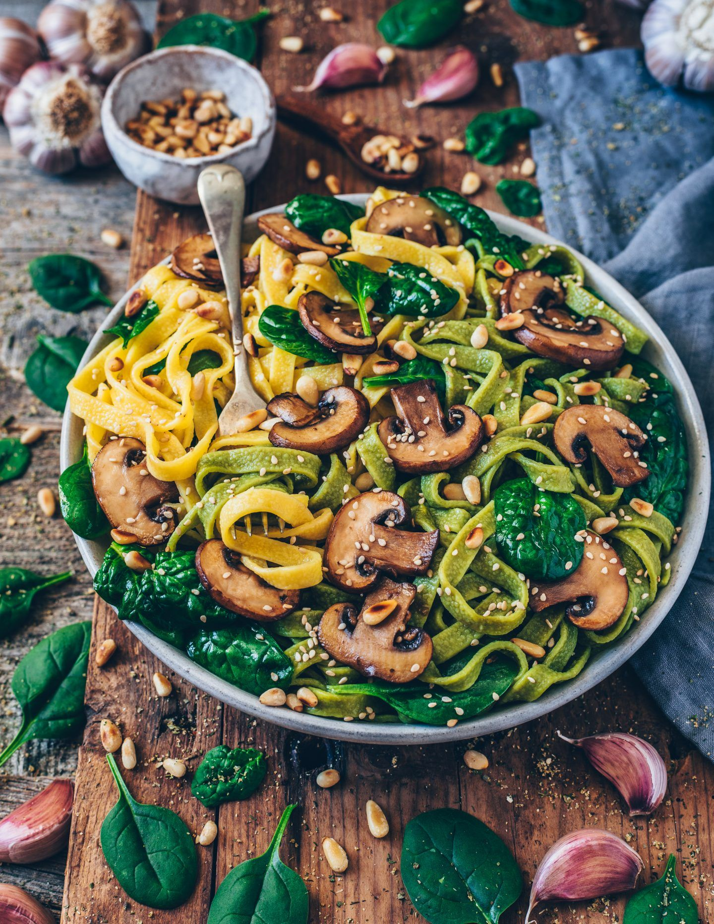 Vegan Mushroom Pasta With Spinach Easy