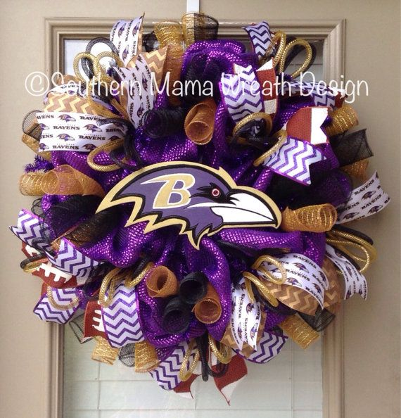 743e5c24 Baltimore Ravens wreath by SouthernMamaWreaths on Etsy …   Painted ...