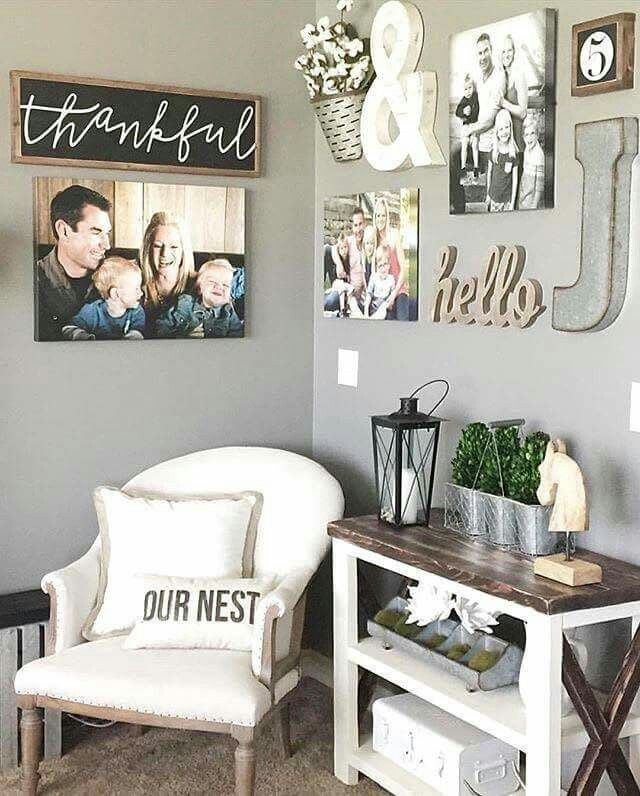 House Decoration With Pictures And Phrases Corner Wall Decor Nook Living Room
