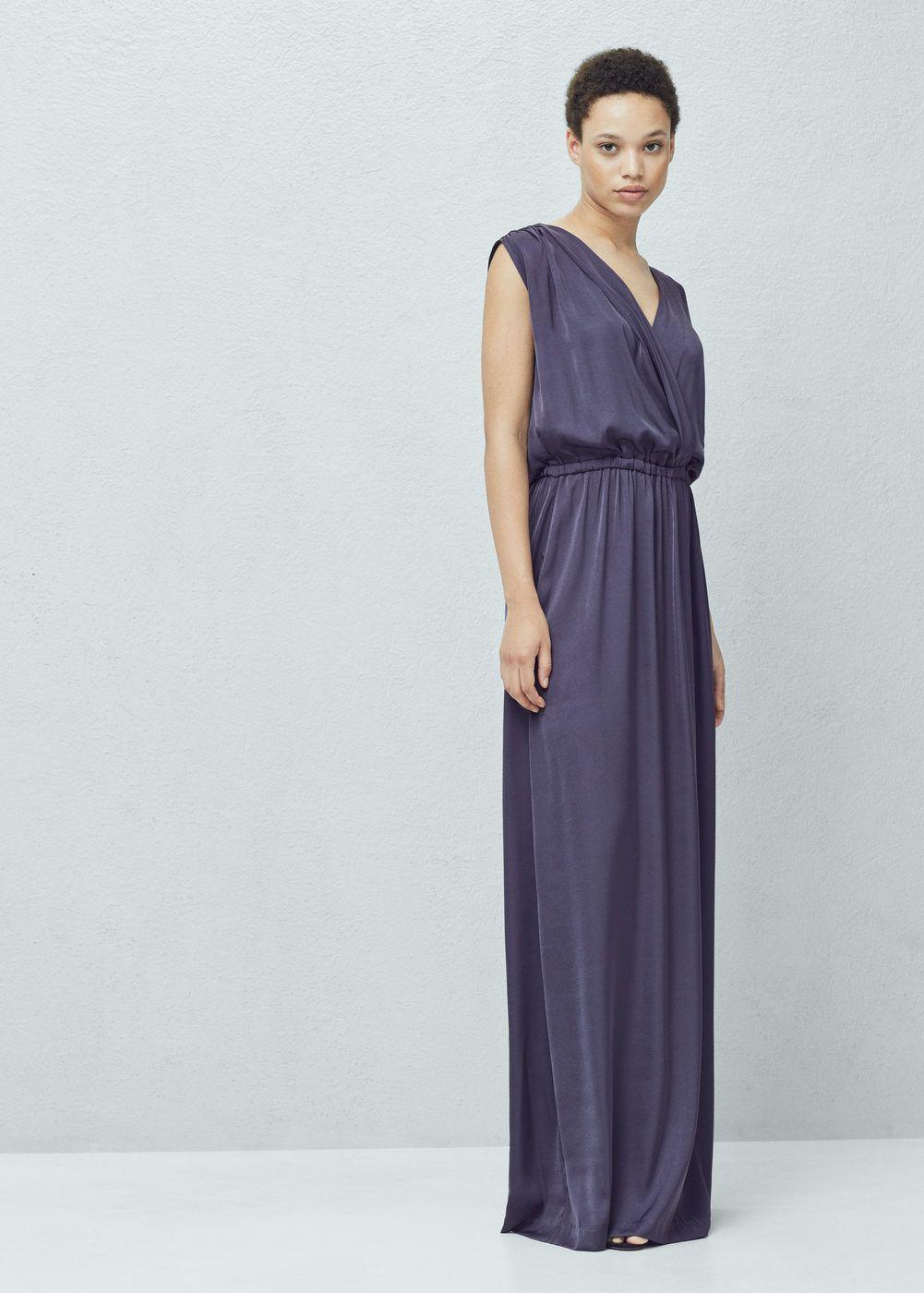 Vestido largo fluido - Mujer | Vestido largo, Mango y Vestiditos