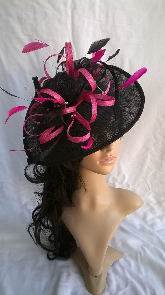 Black and pink Fascinator with crystal stamens..Stunning Fascinator Hat on  a Headband. e433de533e05