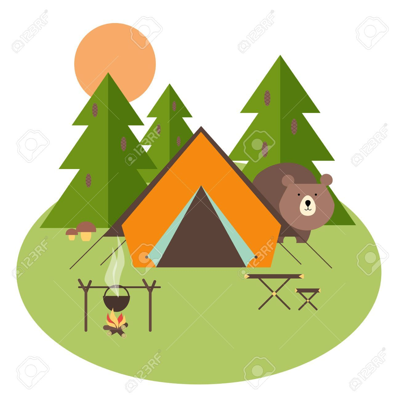 Camping Tent Stock Vector Illustration And Royalty Free Camping Tent Clipart Camping Drawing Camping Clipart Camping Crafts