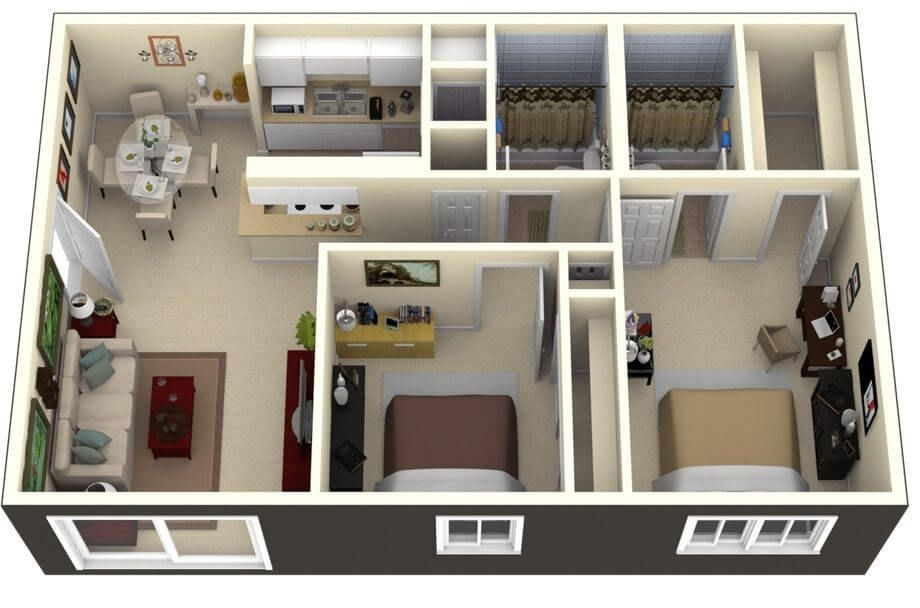 Small 2 Bedroom House Plans And The Tips 2 Bedroom House Design Apartment Design Simple House Plans