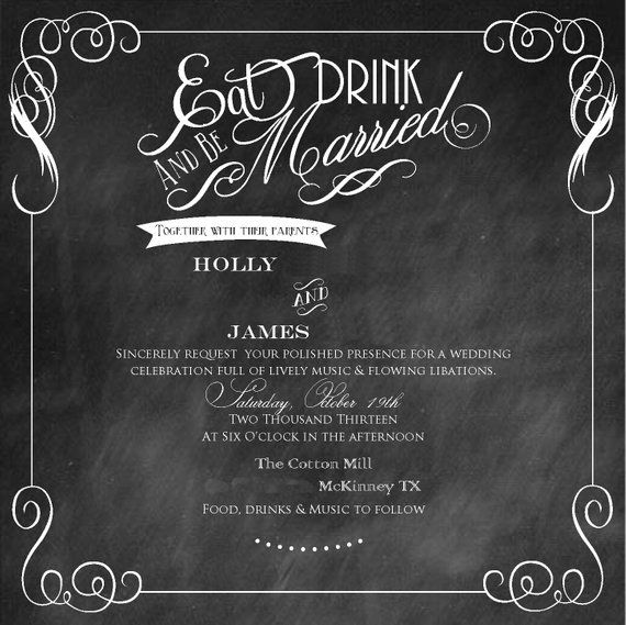 Chalkboard Scroll Wedding Invitation Products In 2019 Pinterest
