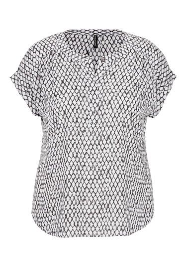 the short sleeve plus size blouse in diamond print (original price, $29) available at #Maurices