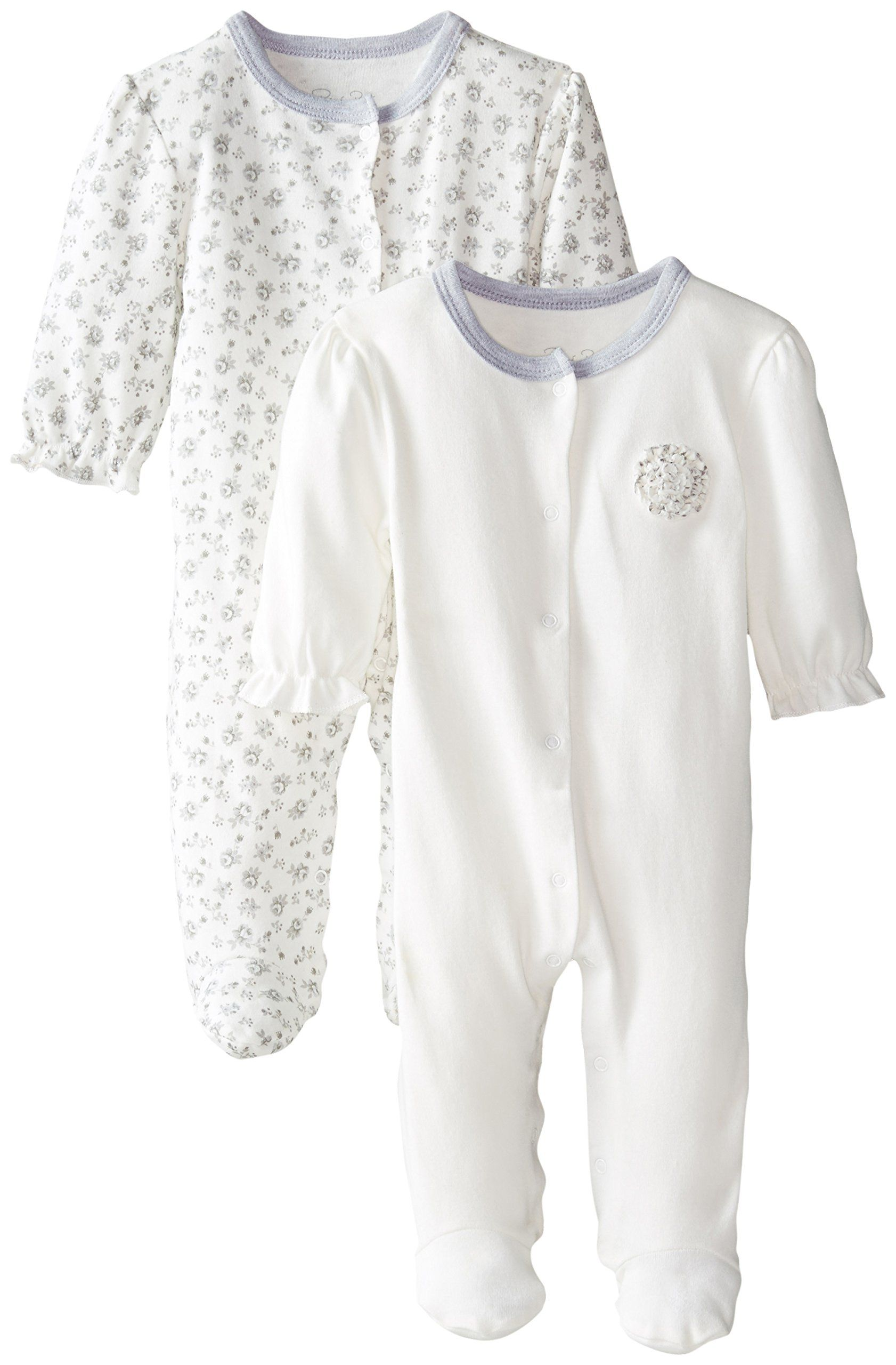 Rene Rofe Baby Baby-Girls Newborn Antique Floral 2 Pack Footed Snap Front Coverall Set, Multi, 3-6 Months