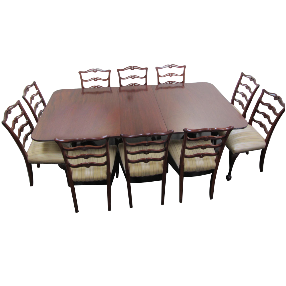Antique Queen Anne Dining Table With 10 Vintage Mahogany Chairs Alluring Queen Anne Dining Room Set Design Decoration
