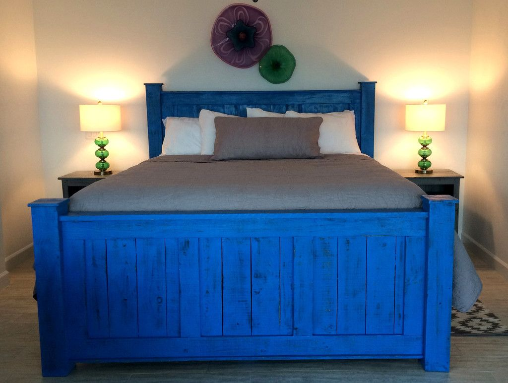 Reclaimed Wood Bed Frame Beach Blue Bed Frame And Headboard