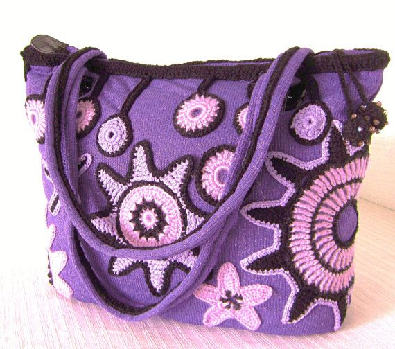 Purple Crochet Purse Freeform Handbag Wearable by MARTINELI, etsy