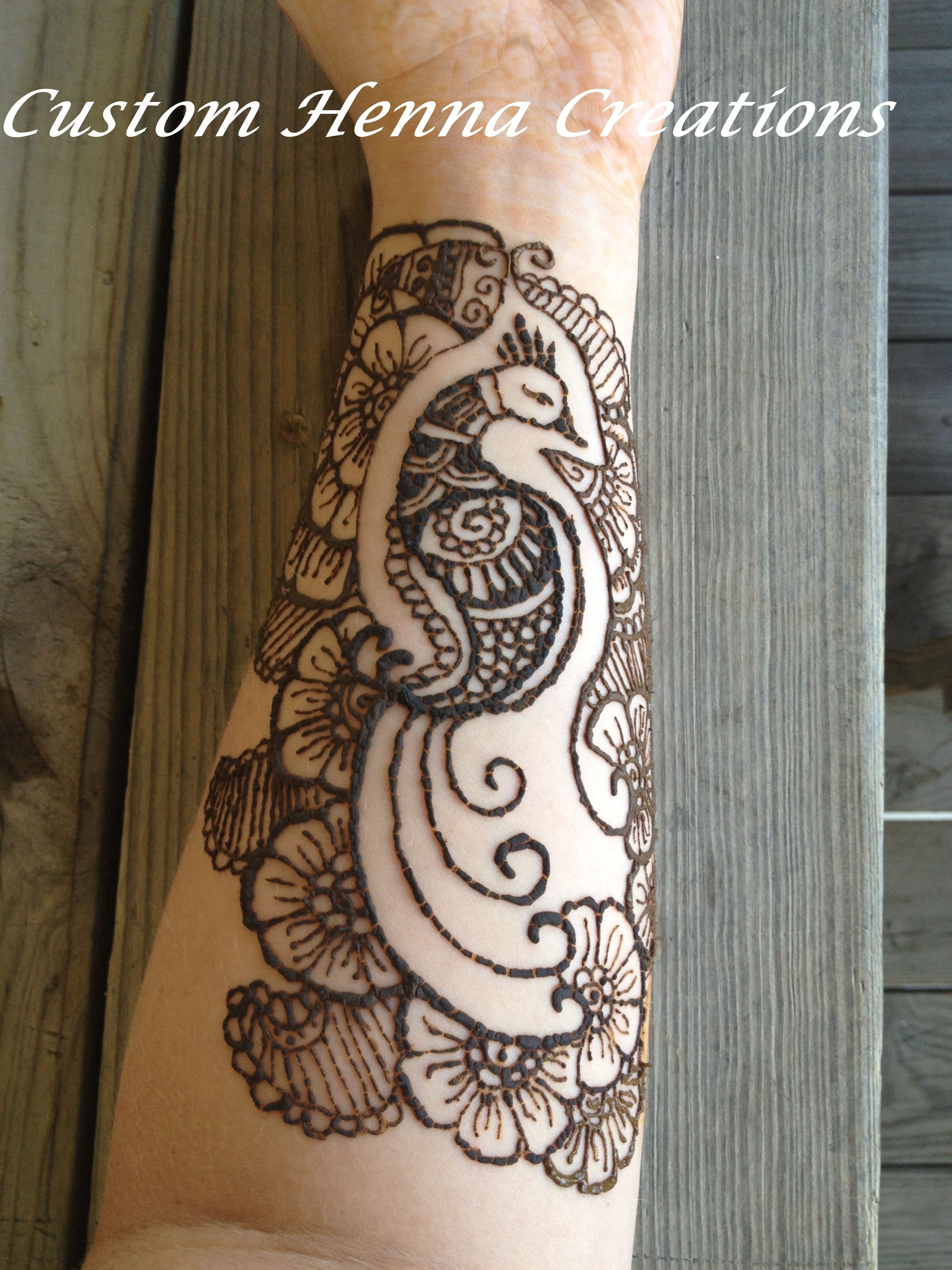 Henna On Forearm Mehndi Peacock And Flower Design Custom Henna
