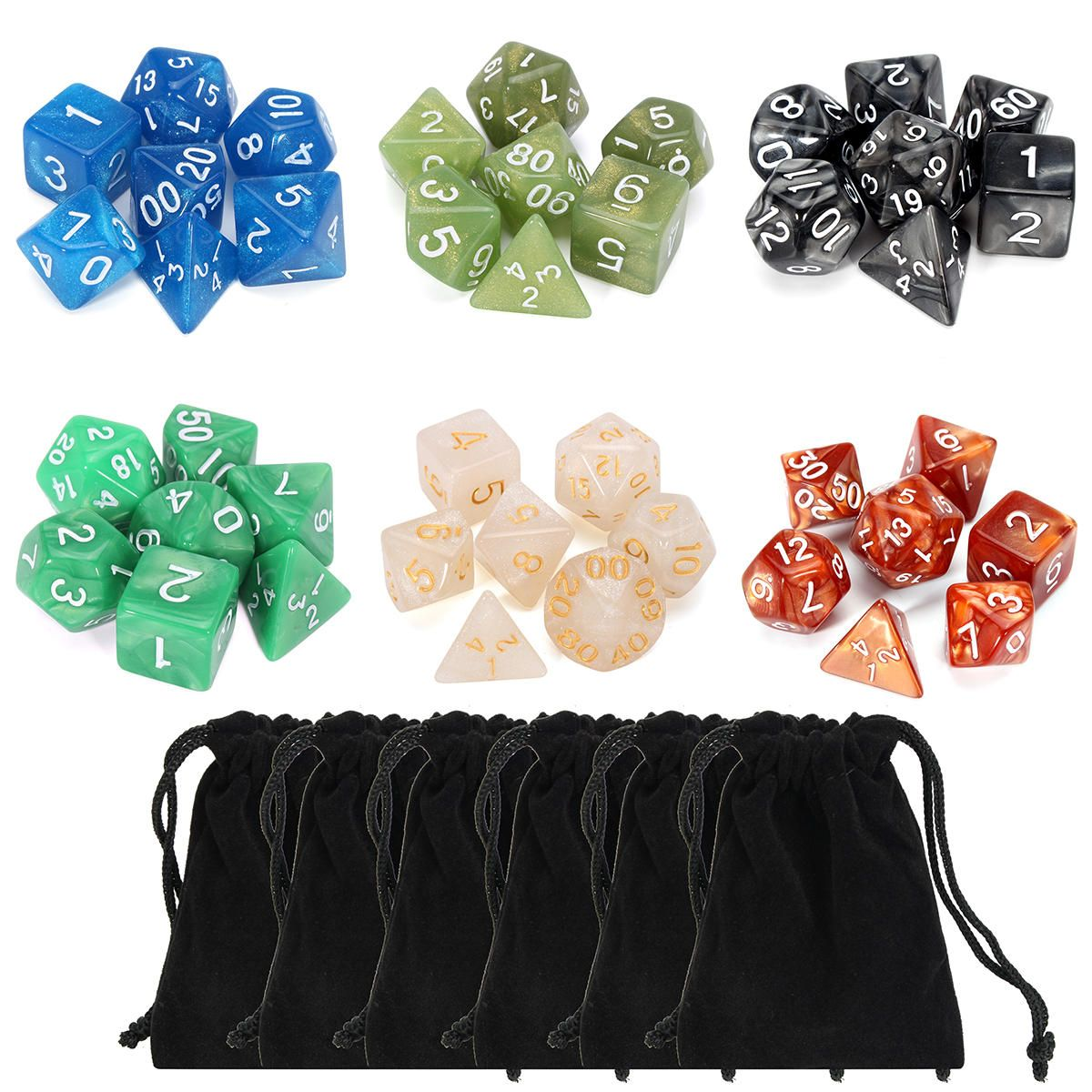6 Sets 42pcs Polyhedral Dice Dungeons And Dragons DND RPG MTG Board Games Dice