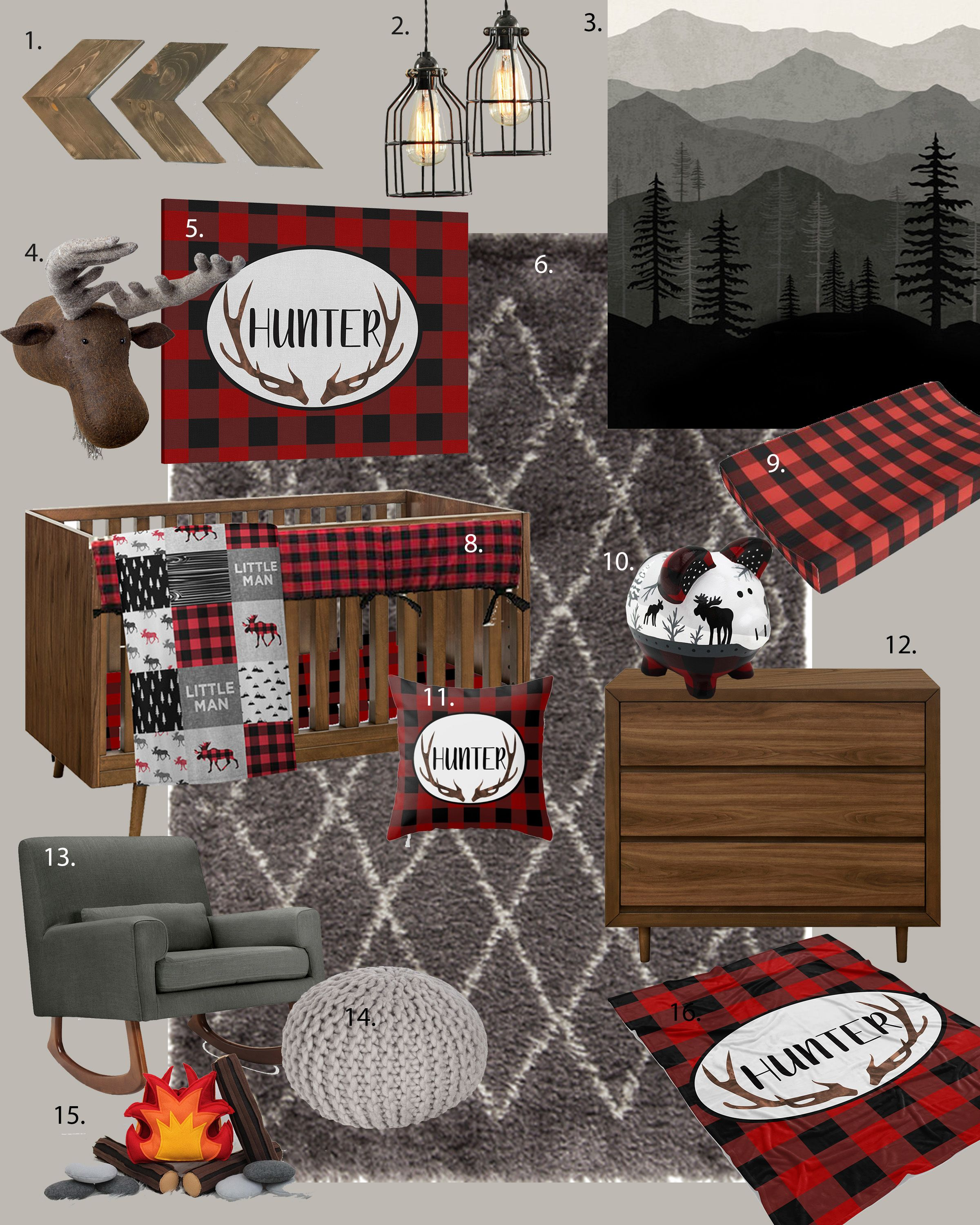 Rustic Buffalo Plaid Nursery Design