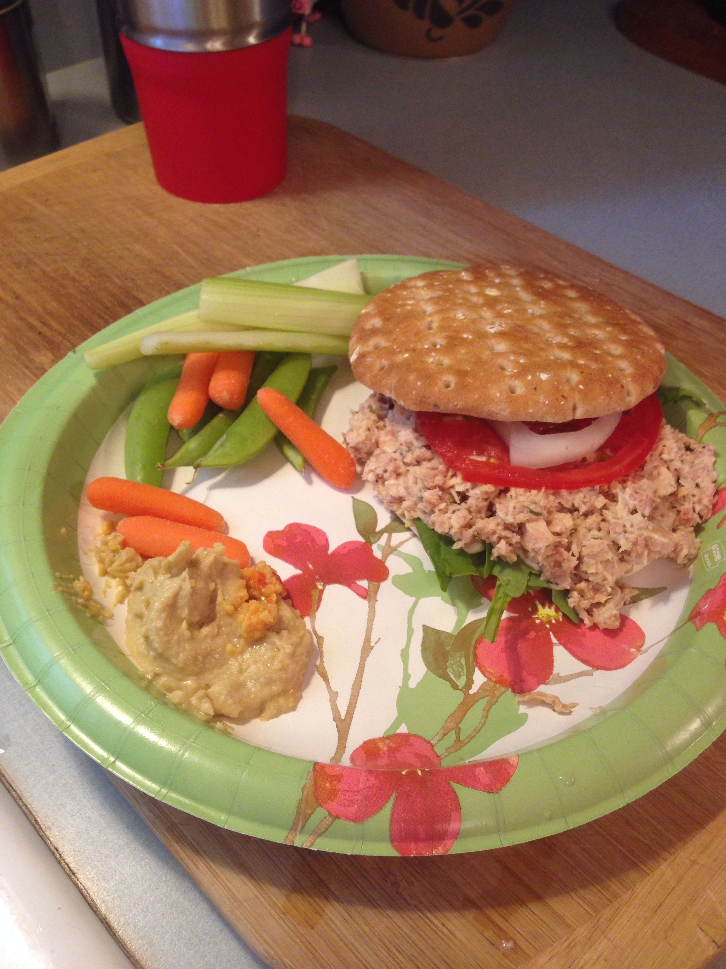 Day 22; lunch: tuna sandwich with Argula, tomato, onion, avocado and mayo with olive oil. Side of garlic hummus with carrots, celery, snap peas