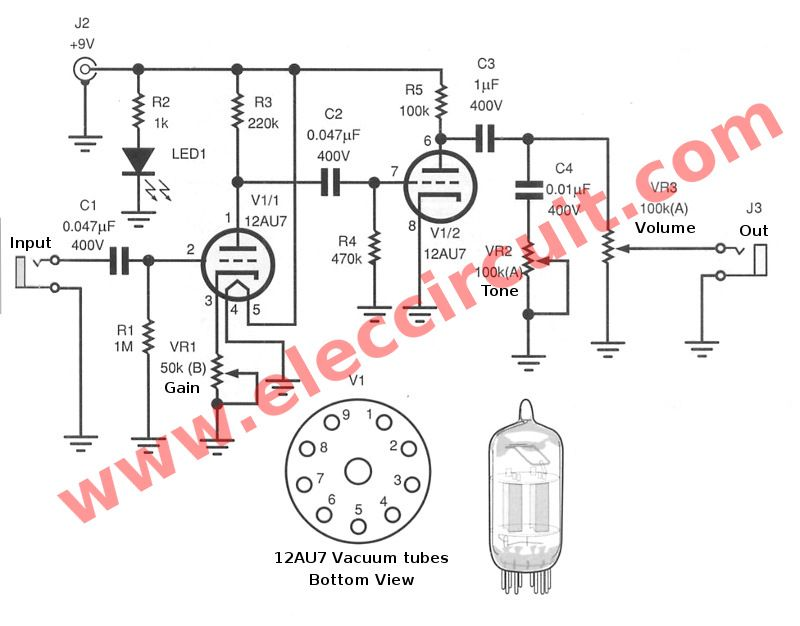 Guitar Preamp Circuit Over Drive Using 12au7 Diy Amplifier Valve Amplifier Electronic Circuit Projects