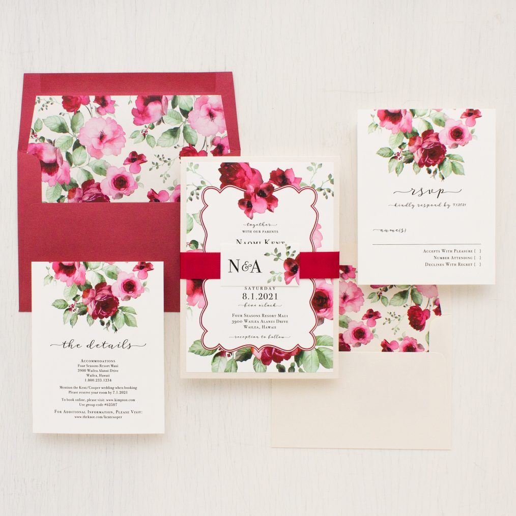 Cranberry Crush Wedding Invitations | Wedding Invitations ...