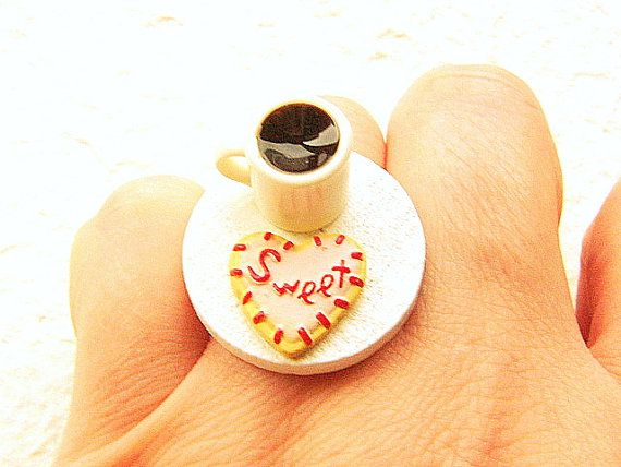 Miniature Food Ring Coffee And A Heart Cookie by SouZouCreations, $12.50