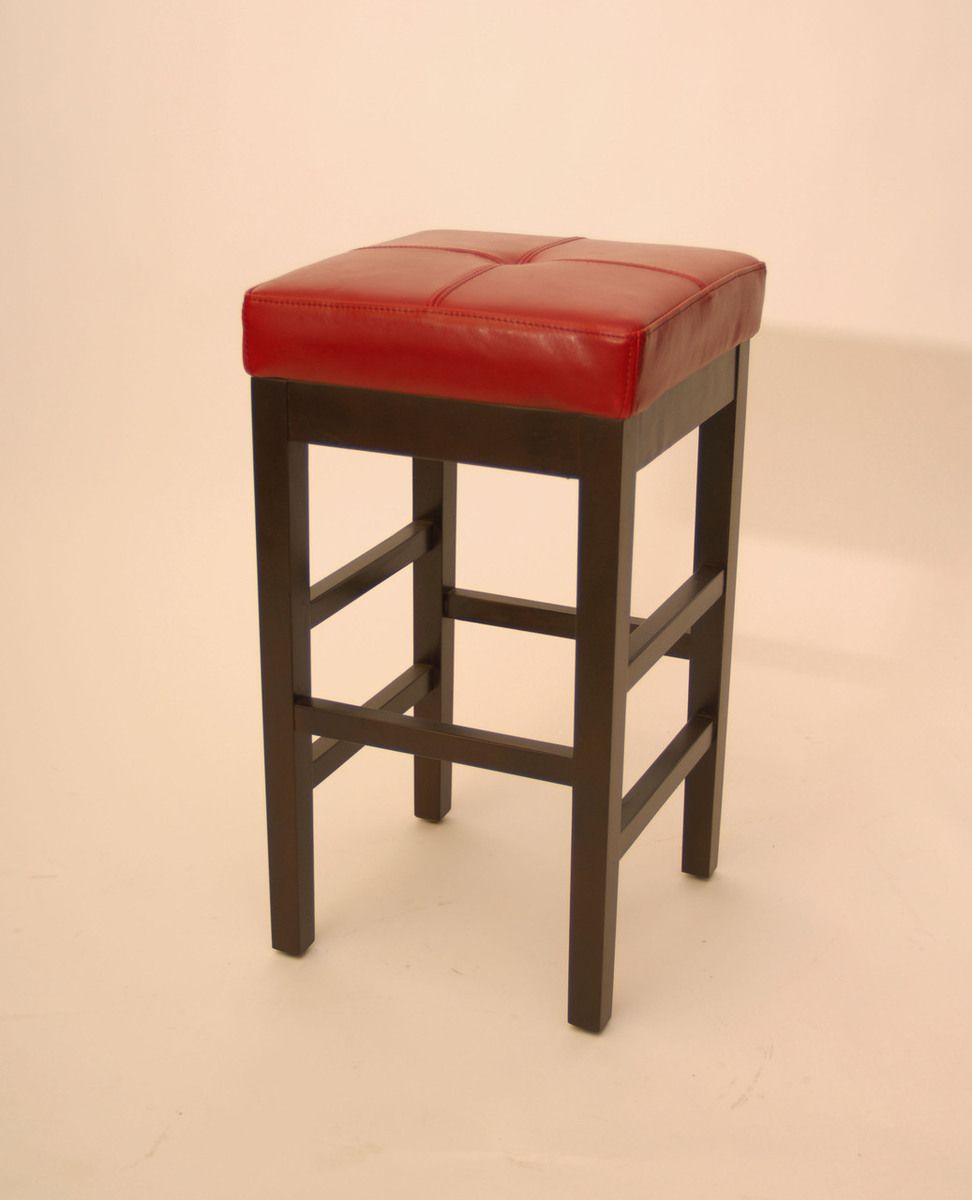 Classic Backless Birch Wood Red Leather Seat Bar Stool Leather Seat Bar Stools Stool