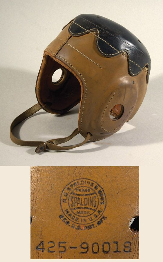 """Rare Spalding """"Princeton"""" style football helmet c.1920s. Very high quality two toned leather helmet has a scalloped edge sewn on leather top in the manner of the Princeton style of helmet. Interior leather padding remains intact and the helmet retains its original elastic chin strapping. Stamped by Spalding on the back along with model # 425-90018. $2700"""