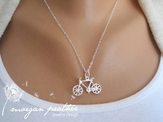 Sterling Silver Bicycle Necklace - Little Bicycle Fitness Charm Suspended on Sterling Silver Fine Cable Chain - Perfect Gift - morganprather