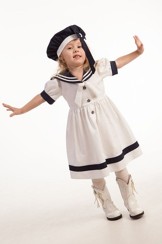Girl sailor dress hat wedding party flower girl dress baby girl sailor  outfit first birthday dress s 2fb554c3bec