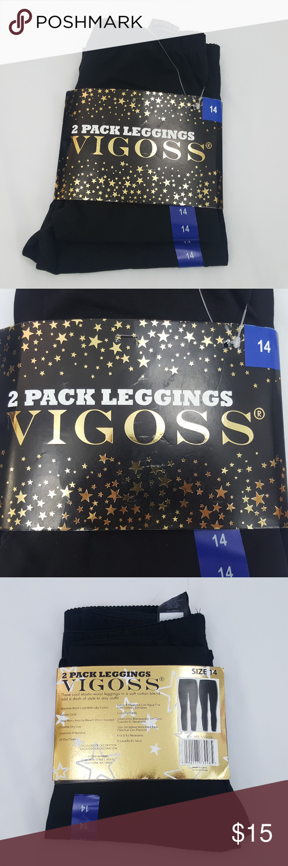 4a687c71e4216 NWT Vigoss Girl's Black Leggings 2 Pack Size 14 NWT Vigoss girl's black  leggings, 2 pack size 14. 95% Cotton, 5% Spandex. C01-37cpeb Vigoss Bottoms  Leggings