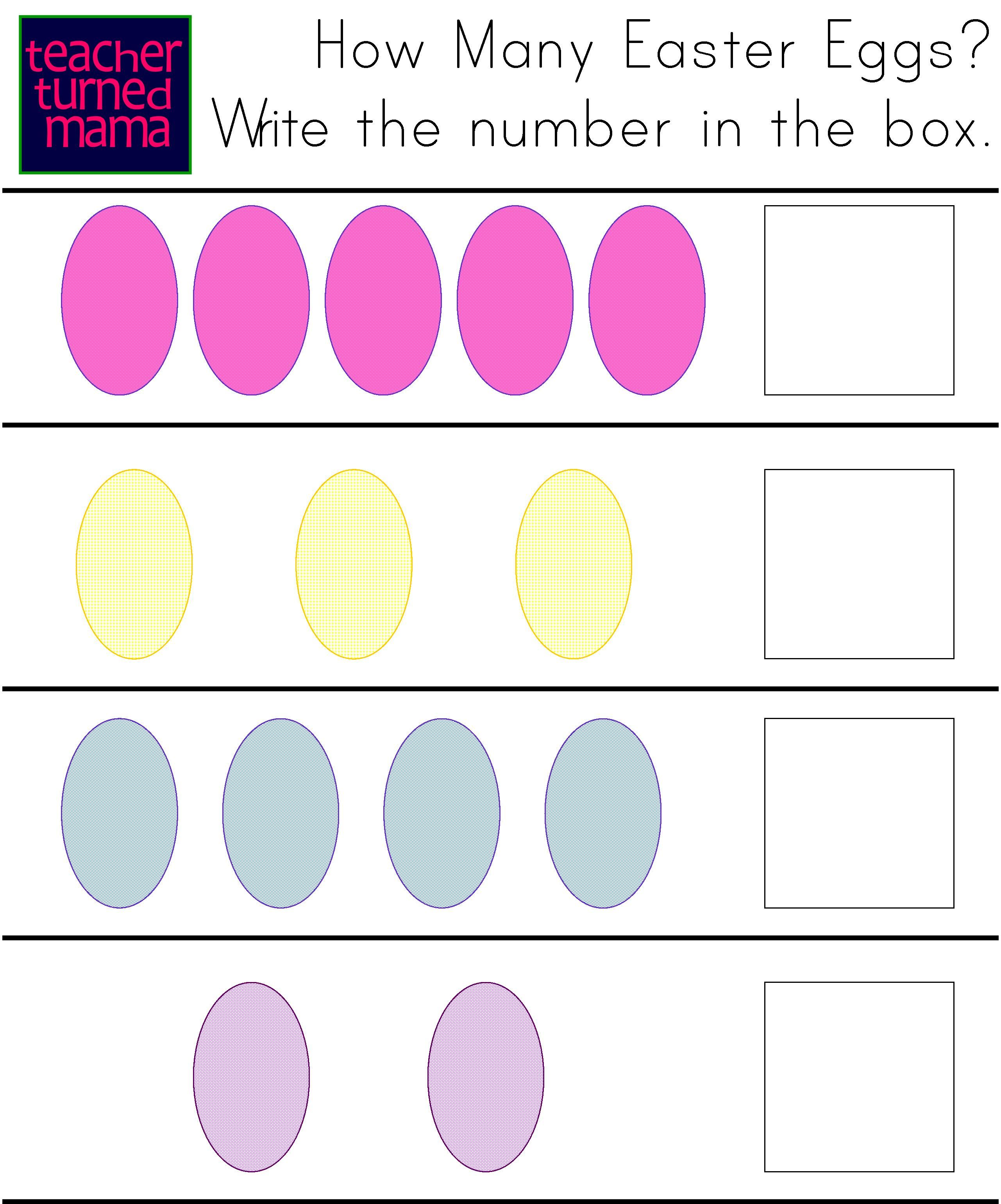 Teacher Turned Mama Activity Sheet Easter Eggs Counting