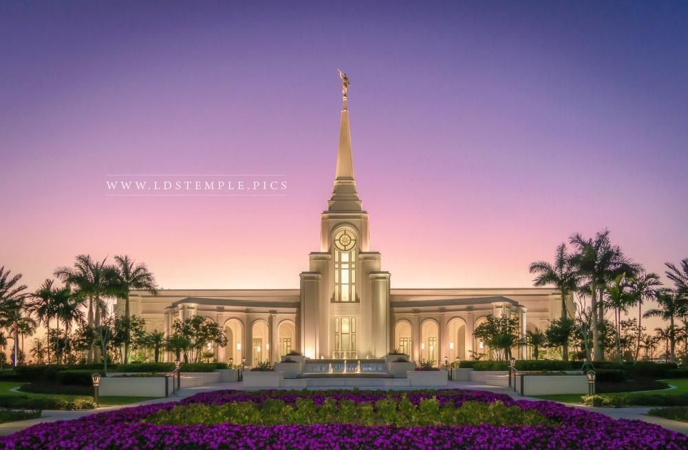 Fort lauderdale temple sunset and flowers lds temples