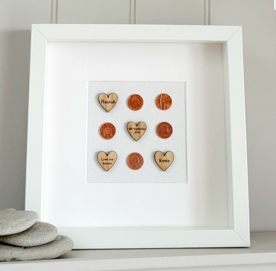 A thoughtful copper anniversary gift with copper pennies