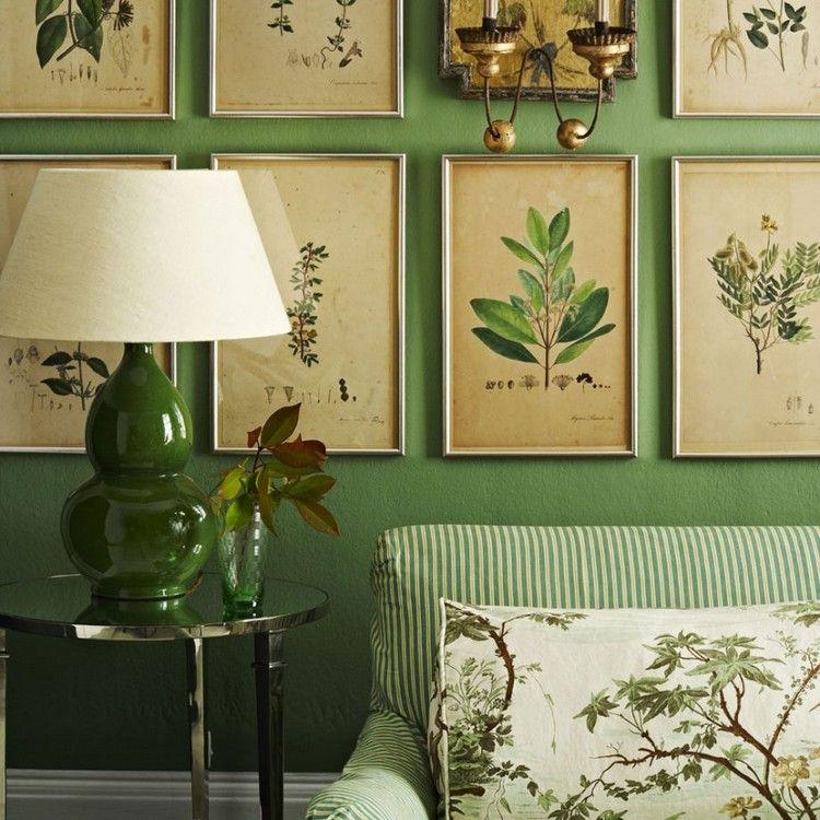 wohnzimmer einrichtung trends grün deko botanik-look