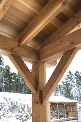 Details Of The Timber Framed Patio Roof Also Notice Wood Shed Across Way By Tfbc Member Sweet Frames