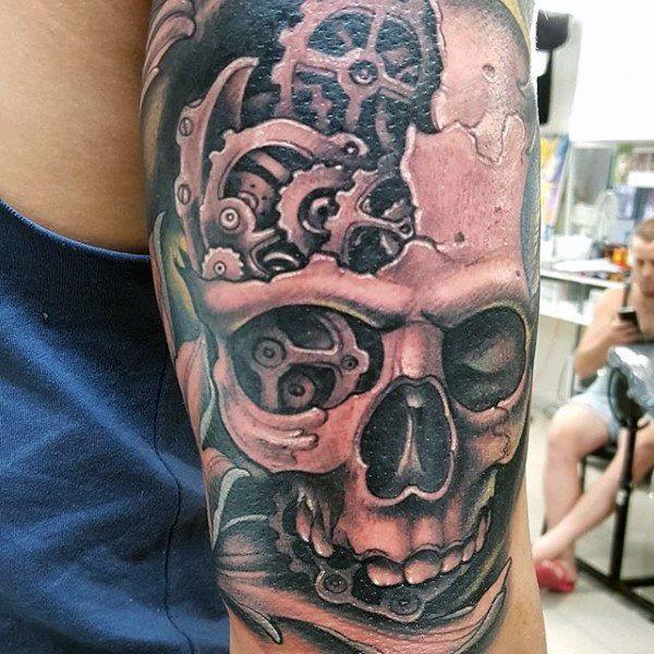 Skull And Gears Tattoo Mens Triceps Ink Pinterest Gear Tattoo And Tattoo