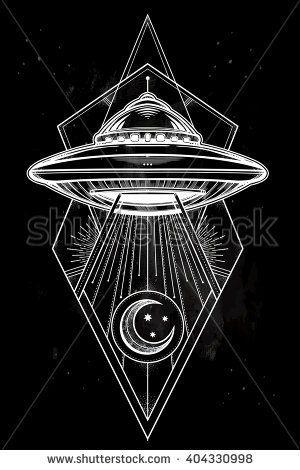 Alien Spaceship geometric design. UFO Background with ...