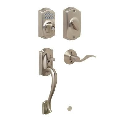 Schlage Camelot Single Cylinder Satin Nickel Front Entry Keypad Set
