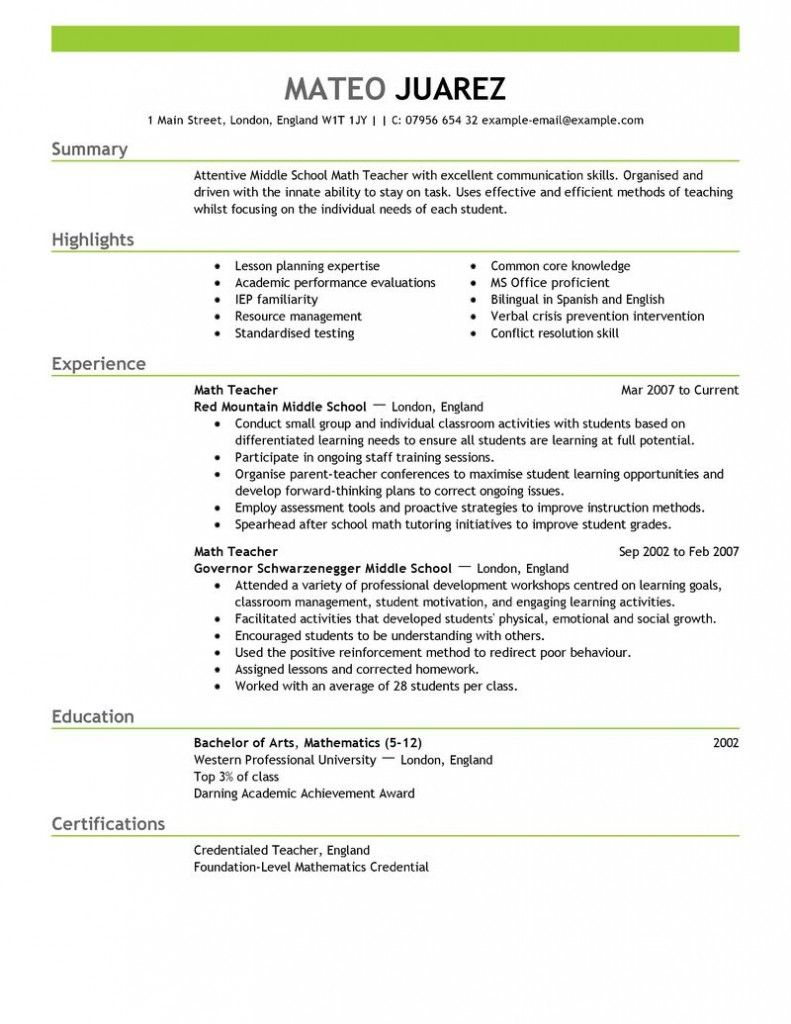 Contemporary Design Resume Education Example