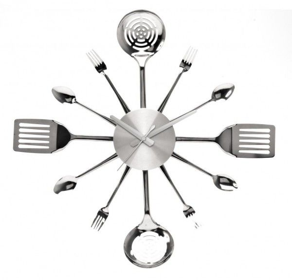 Stainless Steel Utensils Kitchen Wall Clock By Pt Zdtj 600x575 Unique And Inspiring Clocks For Your Home