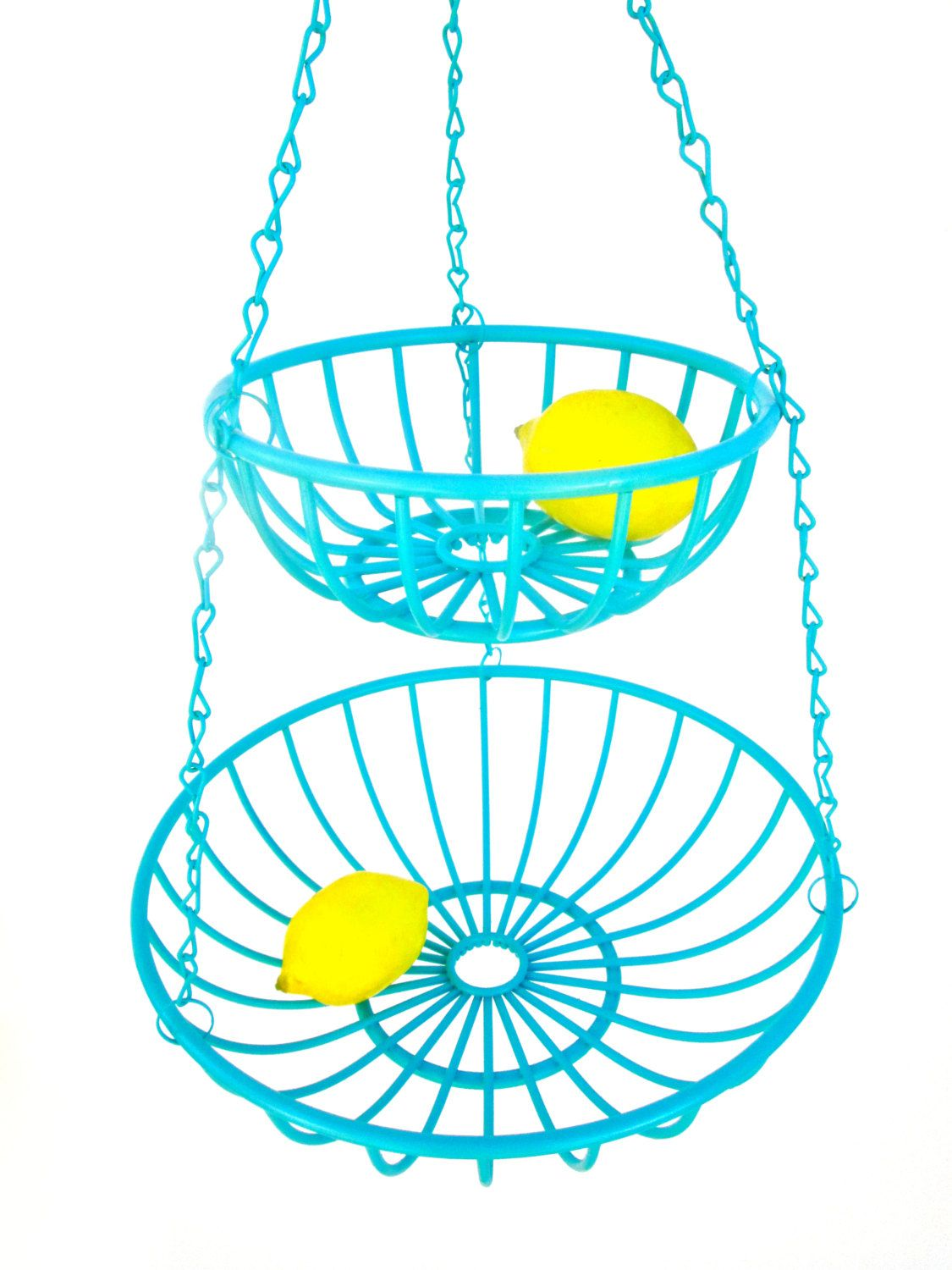 Vintage Hanging Turquoise Metal Wire 2-Tier Baskets || Retro-Modern ...