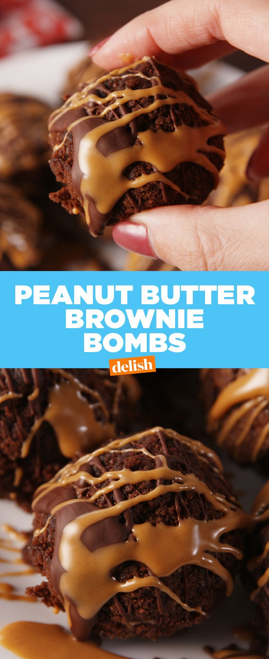 Peanut Butter Brownie Bombs #peanutbuttersquares