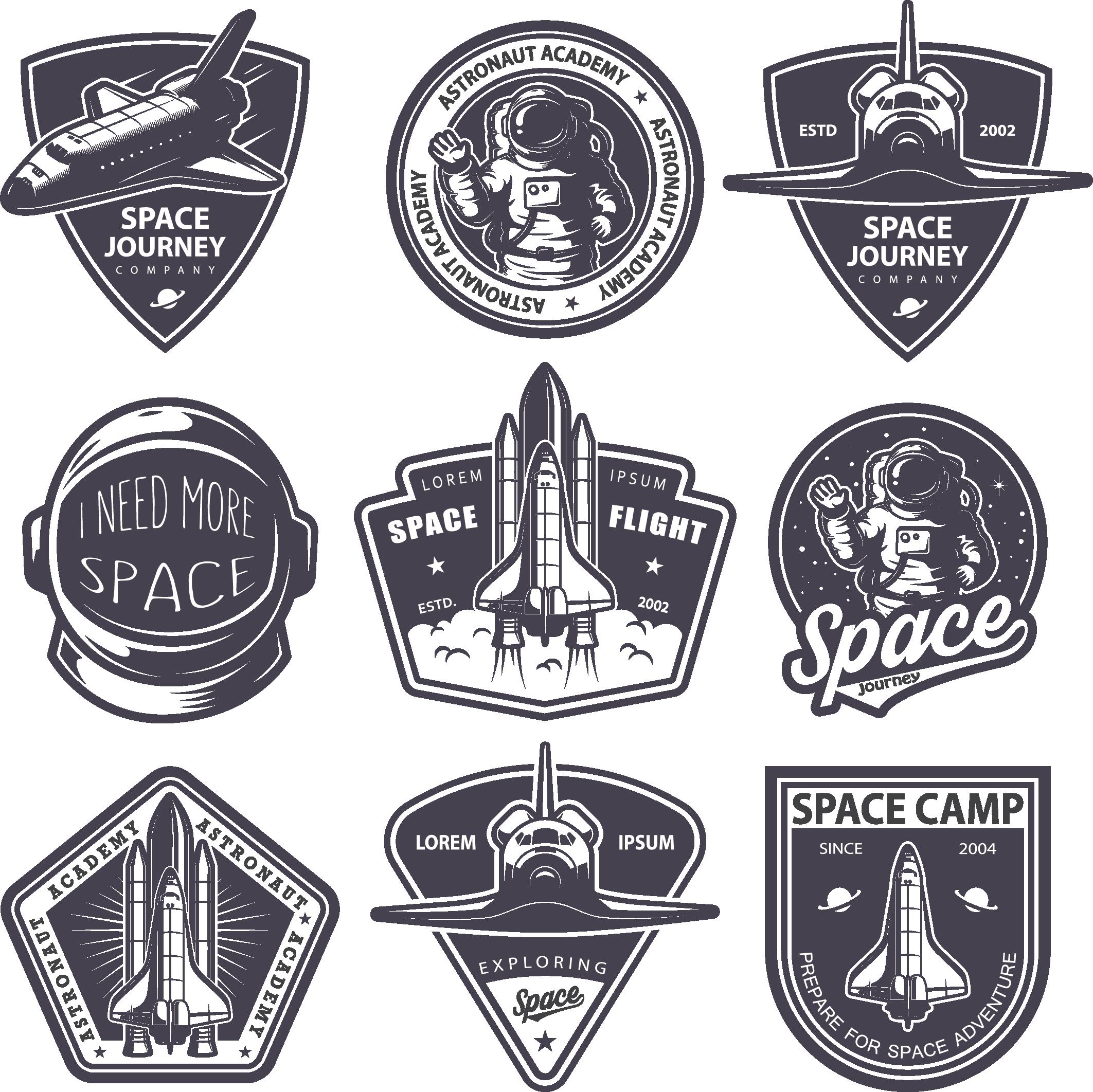 Astronaut Badge Logo Vector Space Shuttle 2125 2124 Transprent Png Free Download Emblem Brand Label Vintage Space Retro Logos Badge Logo