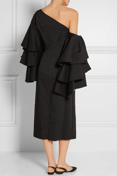 Rosie Assoulin   Bidi Bidi Bom Bom convertible one-shoulder ruffled cotton-twill dress   NET-A-PORTER.COM