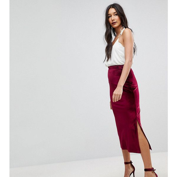 8ec0e0975868 ASOS TALL Velvet Pencil Midaxi Skirt (£14) ❤ liked on Polyvore featuring  skirts, red, high waisted knee length skirt, knee length pencil skirt, red  pencil ...