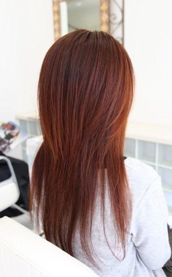ロングハイレイヤー オレンジ系カラー ヘアスタイル ヘアカタログ 髪型 福井県あわら市の美容室スプリングヘアーデザイン 髪型 レイヤーカットヘア レイヤー入りヘアスタイル