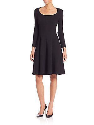 Theory Beyao Diamond Knit Fit-and-Flare Dress - Black - Size 0