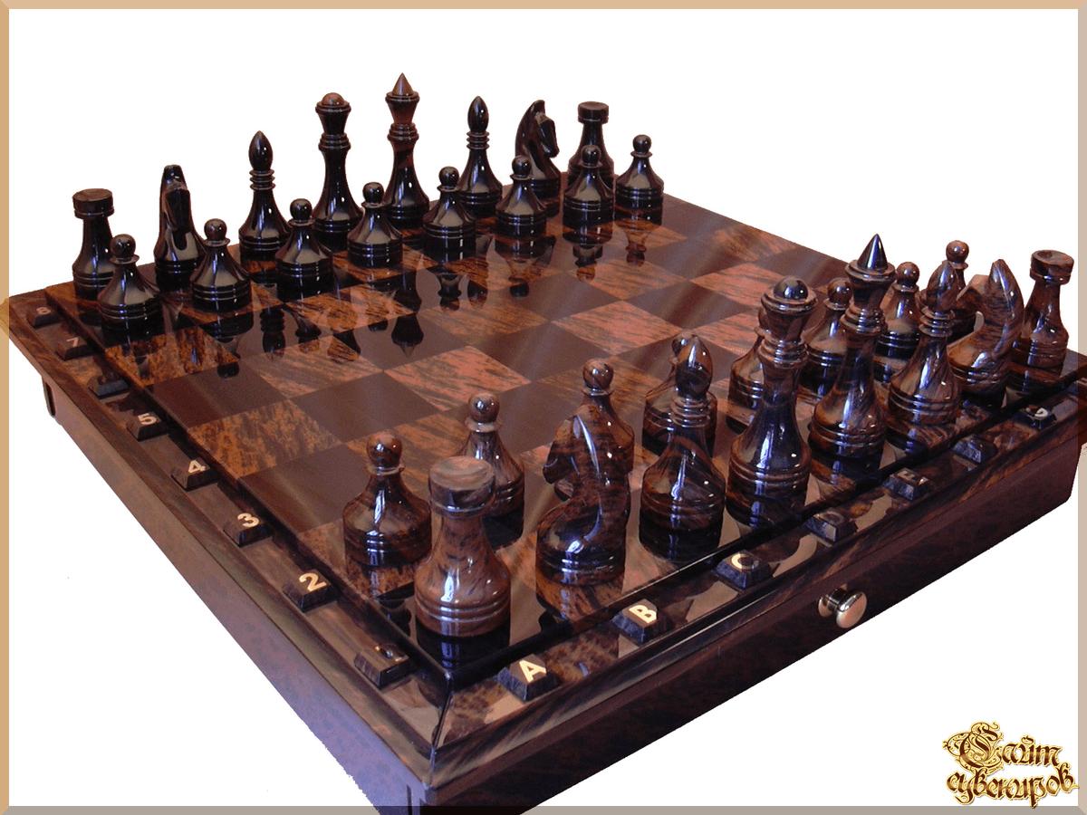 Шахматы Классические средние из обсидиана цена - Шахматы из