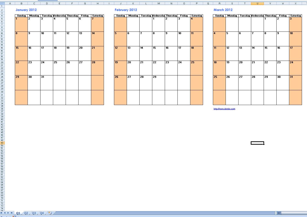Three Month Calendar Template